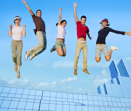 Jumping young people happy group over city buildings cityscape photo