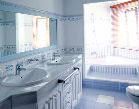 classic blue bathroom interior tiles decoration window light photo