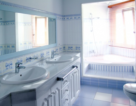 classic blue bathroom interior tiles decoration window light photo
