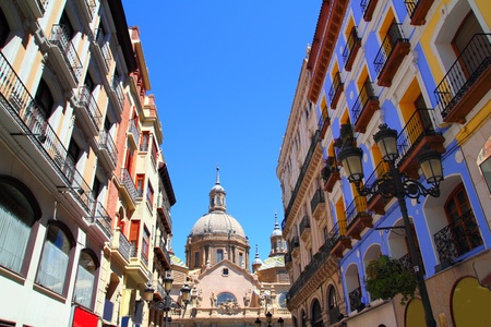 El Pilar Cathedral in Zaragoza city Spain view from Alfonso I street photo