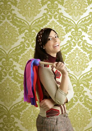 retro housewife woman duster cleaning sixties wallpaper Stock Photo - 8385026
