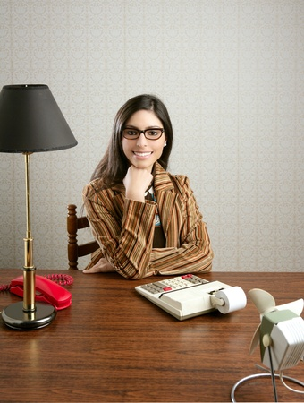 accountant secretary retro woman vintage office wooden table wallpaper photo
