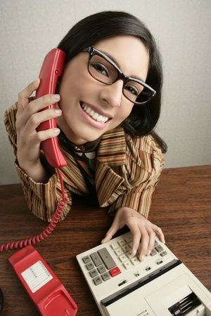 Retro secretary wide angle humor portrait talking telephone woman photo