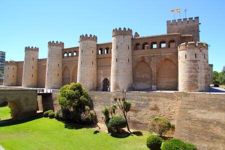 zaragoza: Aljaferia palace castle in Zaragoza Spain Aragon outdoor blue sky