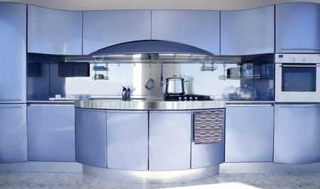 Blue silver kitchen modern architecture decoration inter design Stock Photo - 8384722