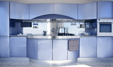 Blue silver kitchen modern architecture decoration interior design Stock Photo - 8384722