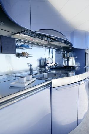 Blue silver kitchen modern architecture decoration inter design Stock Photo - 8384728