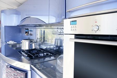 Blue silver kitchen modern architecture decoration interior design photo