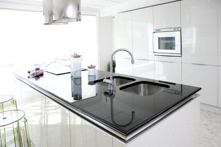 clean kitchen: Modern white kitchen clean interior design deco architecture