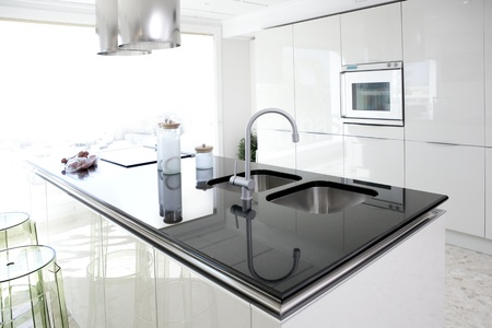 Modern white kitchen clean interior design deco architecture Stock Photo - 8384731