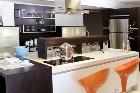 counters: Brown wood kitchen modern stainless steel decoration house Stock Photo