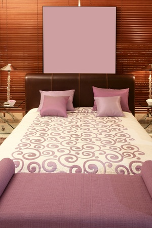 purple bedroom bed warm wood sunblind background Stock Photo - 8385070