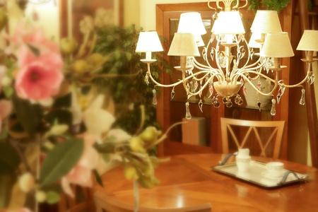 Baroque italian chandelier wooden livingroom table photo
