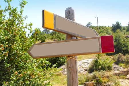 wood copyspace traffic signal outdoor mountain arrow in two directions photo