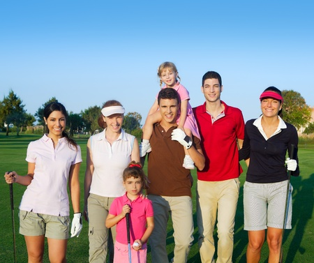 Golf course group of friends people with children posing standing photo