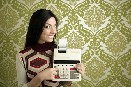 retro accountant woman calculator vintage green sixties wallpaper photo