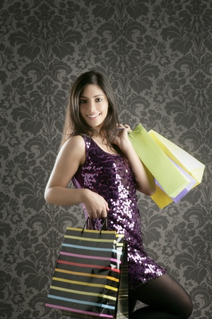 Shopaholic fashion woman colorful bags retro dark gray wallpaper photo
