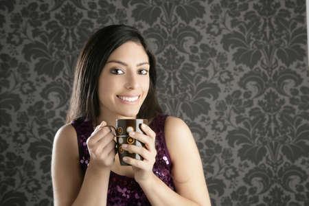 indian sexy: coffee cup brunette beautiful woman retro portrait gray wallpaper