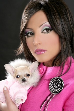 fashion doll barbie woman with chihuahua dog pink 1980s style photo