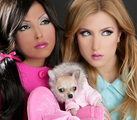 fashion doll barbie women with chihuahua dog pink 1980s style Stock Photo - 8427043