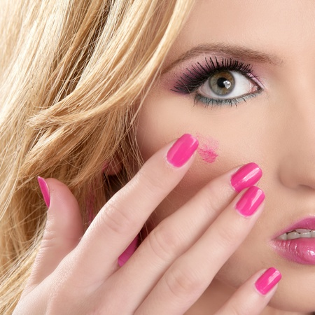 lipstick red on makeup skin blonde macro closeup model pink nails photo