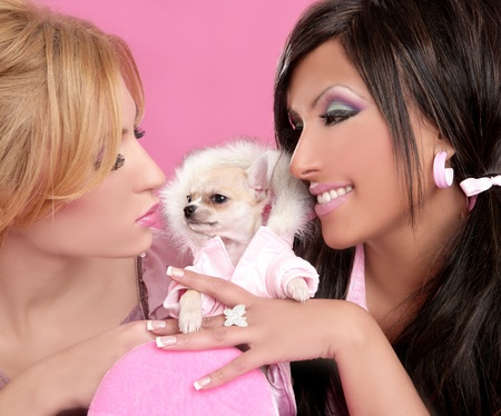 fashion barbie doll women with chihuahua dog pink 1980s style photo