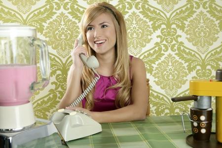 Retro vintage woman kitchen talking phone coffee cup wallpaper photo