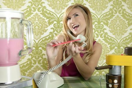 Housewife retro vintage talking phone kitchen nail file Stock Photo - 8424340