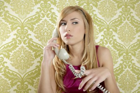 retro telephone woman fashion vintage wallpaper background photo