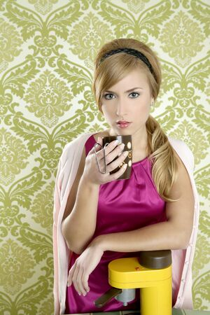 coffee retro woman vintage cup kitchen green wallpaper photo