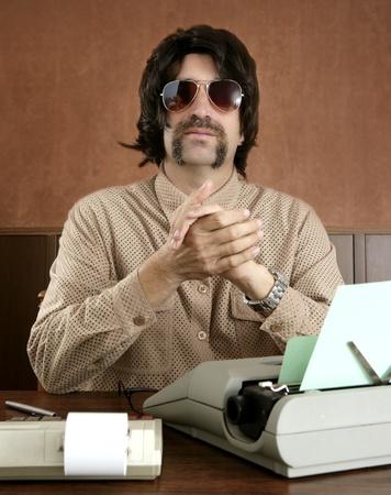 mustache retro businessman vintage wooden office typewriter photo