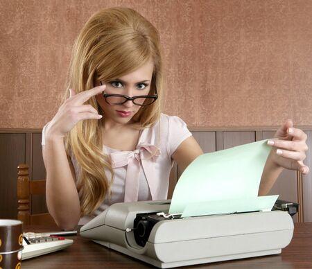 businesswoman retro secretary office vintage glasses typewriter accountant photo