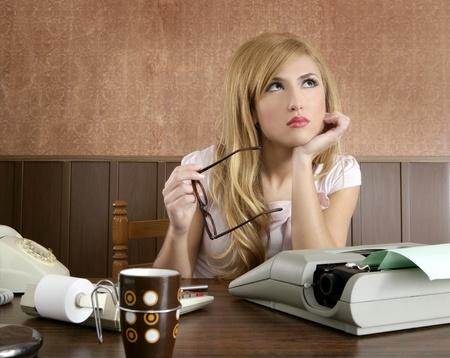 sexy office girl: businesswoman retro secretary office vintage glasses typewriter accountant Stock Photo