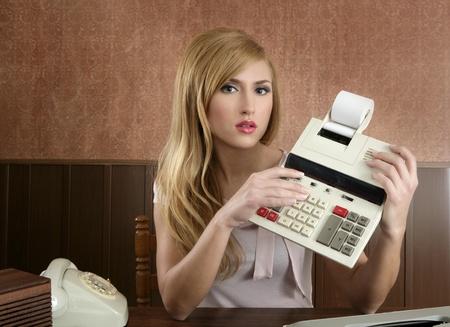 accountant retro secretary vintage calculator wooden office beautiful woman photo