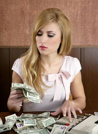 ambition retro woman lots of dollar money notes vintage office Stock Photo - 8426185
