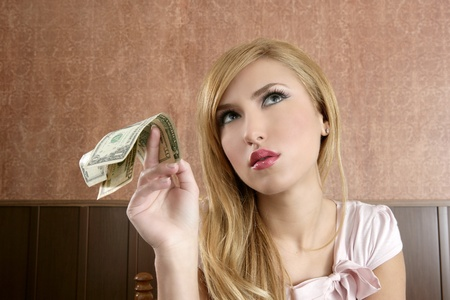 ambition retro woman lots of dollar money notes vintage office Stock Photo - 8433269