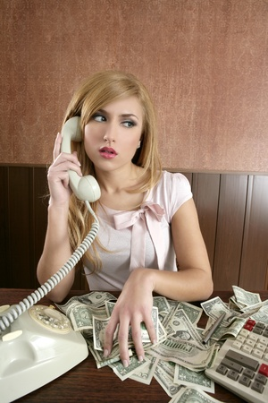 ambition retro woman lots of dollar money notes vintage office Stock Photo - 8424958
