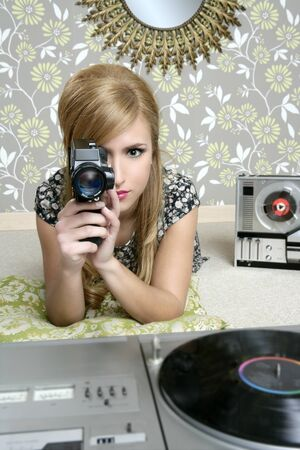 Super 8mm camera retro woman vintage wallpaper room photo