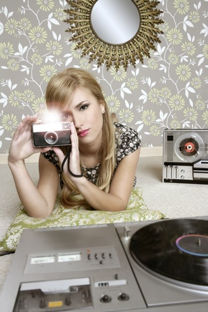 camera retro photo woman in vintage room wallpaper photo