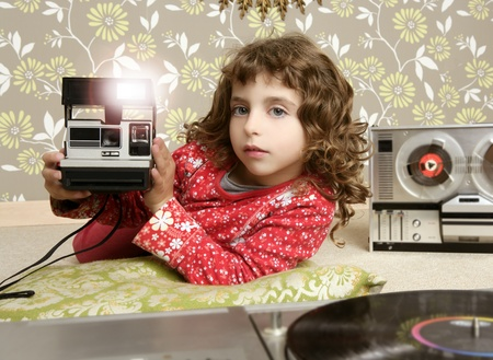 camera retro little girl in vintage room wallpaper photo