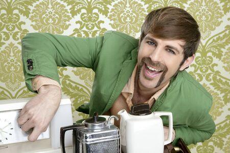 geek retro man drinking tea coffee vintage teapot in wallpaper Stock Photo - 8424963