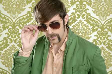 geek retro salesperson man funny mustache sunglasses in green wallpaper photo