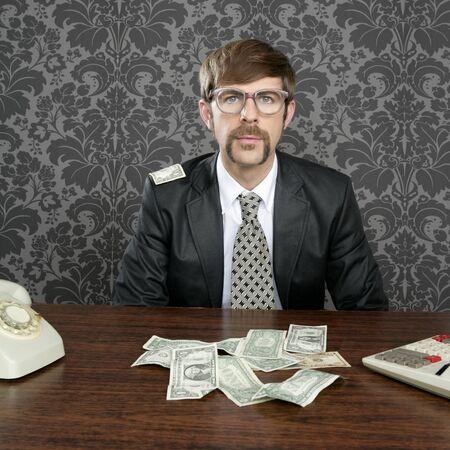 businessman nerd accountant dollar notes on vintage wallpaper office photo