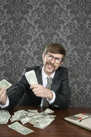 businessman nerd accountant dollar notes on vintage wallpaper office photo
