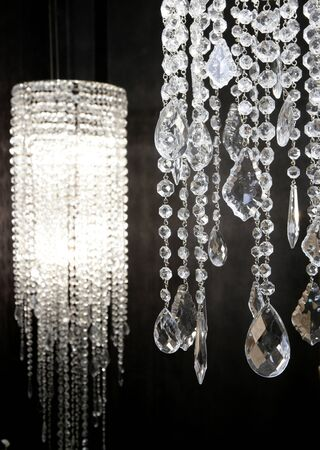 crystal strass lamp white over black background luxury interior design Stock Photo - 8426177