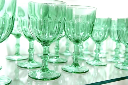 bar ware: Green cups rows glass crystal luxury kitchenware