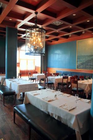 interior restaurant decoration warm wood ceiling elegant deco photo