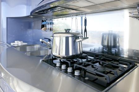 Blue silver kitchen modern architecture decoration inter design Stock Photo - 8426064