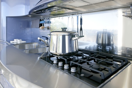 Blue silver kitchen modern architecture decoration interior design photo