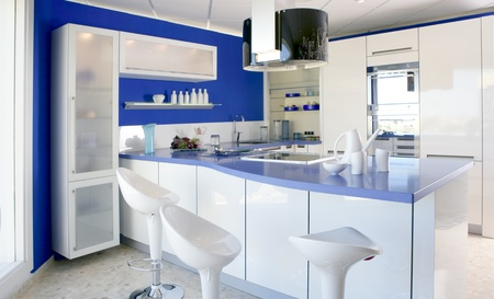 Blue white kitchen modern interior design house architecture photo